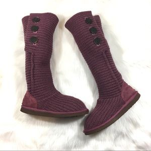 UGG Boots, Purple, Size 9, Knit/Buttons